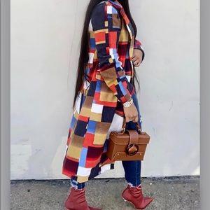 Multicolor Plaid Longline Wool Coat
